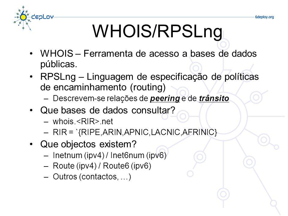 WHOIS/RPSLng WHOIS – Ferramenta de acesso a bases de dados públicas. RPSLng – Linguagem de especificação de políticas de encaminhamento (routing) –Des