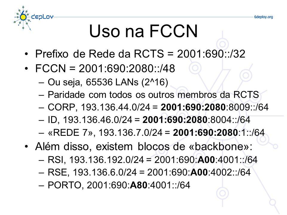 Uso na FCCN Prefixo de Rede da RCTS = 2001:690::/32 FCCN = 2001:690:2080::/48 –Ou seja, 65536 LANs (2^16) –Paridade com todos os outros membros da RCT