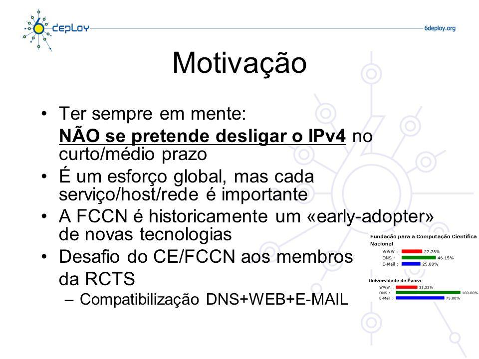 Motivação Os serviços funcionam da mesma forma em IPv6 Diferenças –Tamanho do espaço de endereçamento –Modelo de mobilidade melhorado –Segurança na especificação (raramente cumprida…) IPv4/IPv6, o mesmo nível da camada OSI O switching (Layer 2) é um «amigo» do IPv6 Nível 3 - Rede IPv4IPv6 Nível 2 - Ligação Nível 1 - Físico