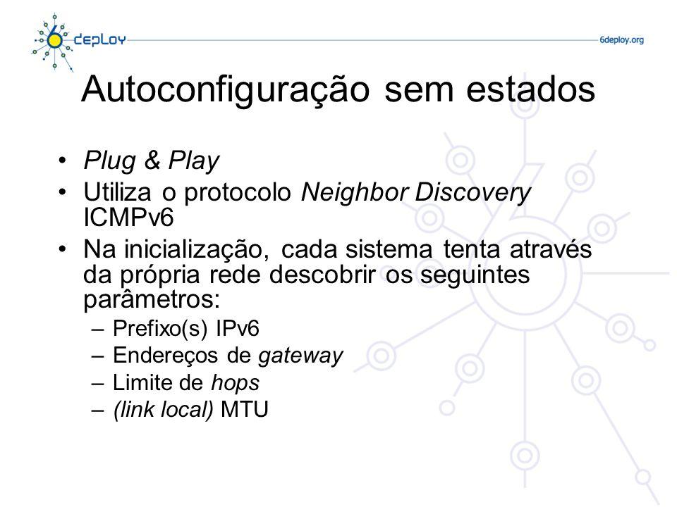 Autoconfiguração sem estados Plug & Play Utiliza o protocolo Neighbor Discovery ICMPv6 Na inicialização, cada sistema tenta através da própria rede de