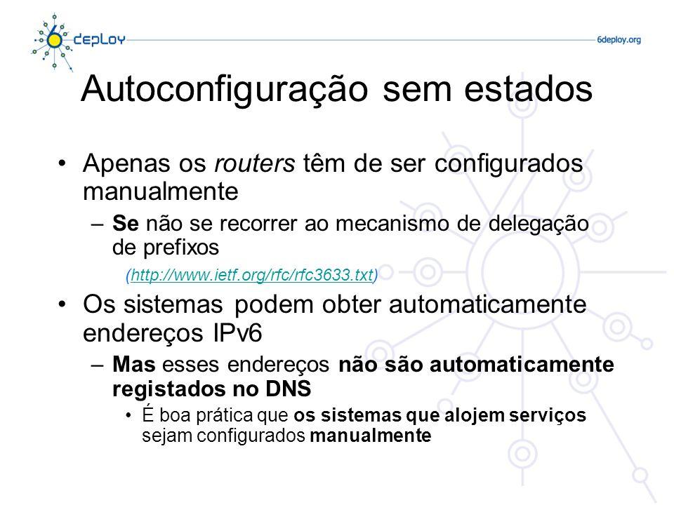 Autoconfiguração sem estados Apenas os routers têm de ser configurados manualmente –Se não se recorrer ao mecanismo de delegação de prefixos (http://w