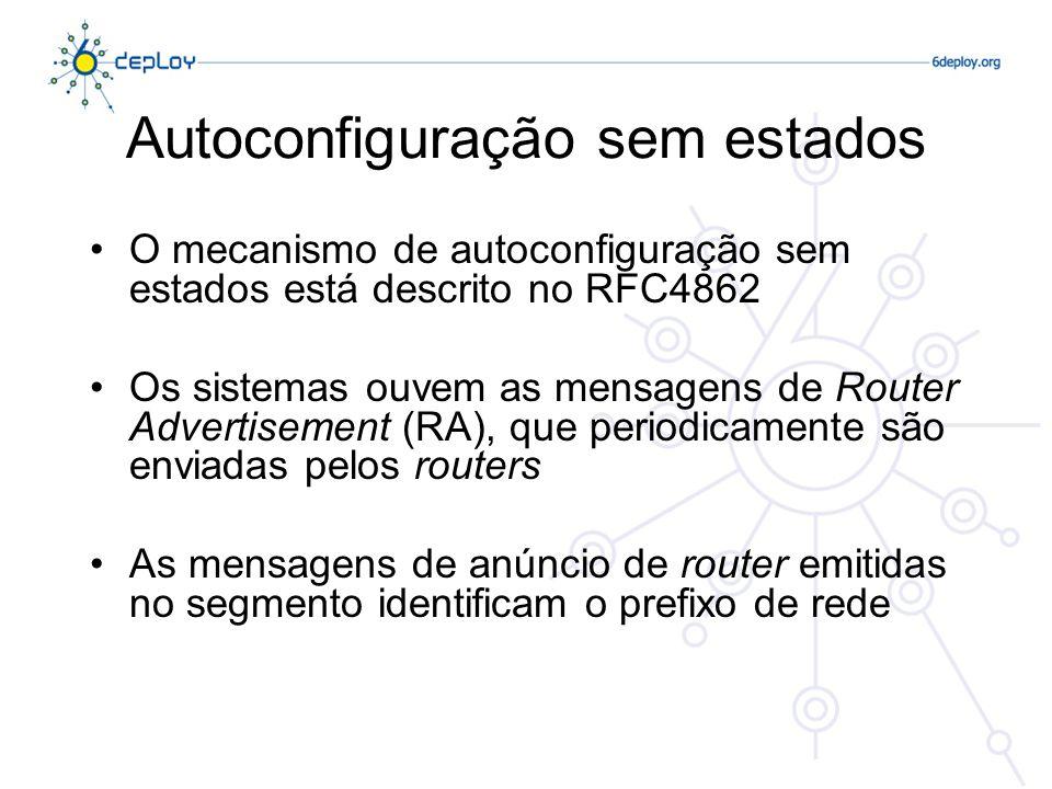 Autoconfiguração sem estados O mecanismo de autoconfiguração sem estados está descrito no RFC4862 Os sistemas ouvem as mensagens de Router Advertiseme