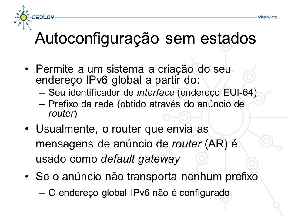 Autoconfiguração sem estados Permite a um sistema a criação do seu endereço IPv6 global a partir do: –Seu identificador de interface (endereço EUI-64)