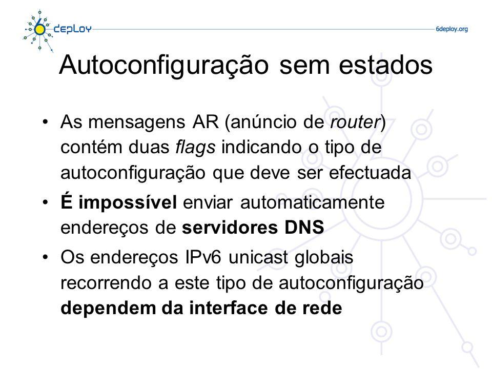 Autoconfiguração sem estados As mensagens AR (anúncio de router) contém duas flags indicando o tipo de autoconfiguração que deve ser efectuada É impos