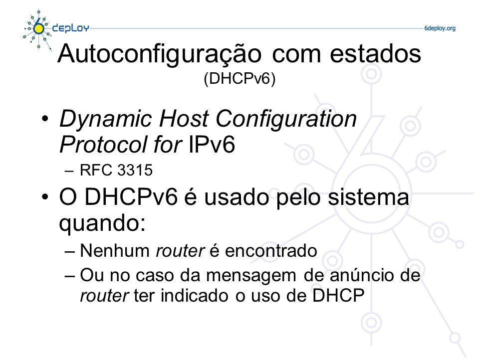 Autoconfiguração com estados (DHCPv6) Dynamic Host Configuration Protocol for IPv6 –RFC 3315 O DHCPv6 é usado pelo sistema quando: –Nenhum router é en