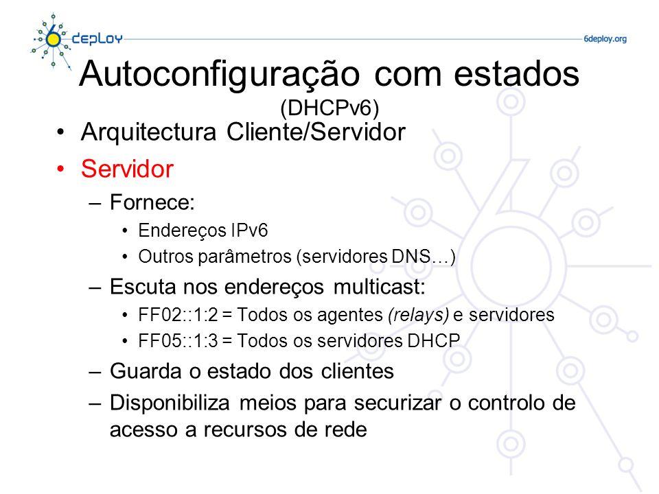 Autoconfiguração com estados (DHCPv6) Arquitectura Cliente/Servidor Servidor –Fornece: Endereços IPv6 Outros parâmetros (servidores DNS…) –Escuta nos
