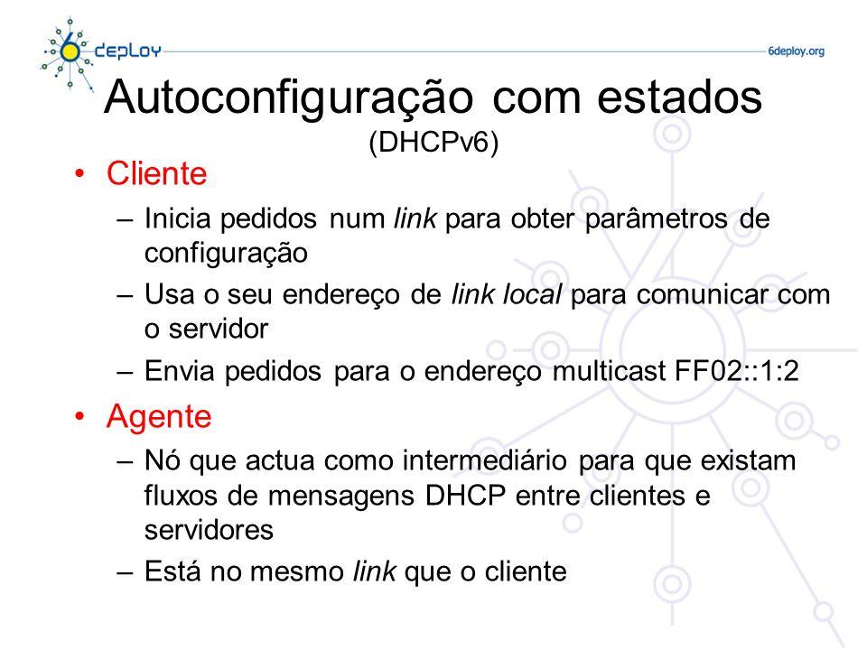 Autoconfiguração com estados (DHCPv6) Cliente –Inicia pedidos num link para obter parâmetros de configuração –Usa o seu endereço de link local para co