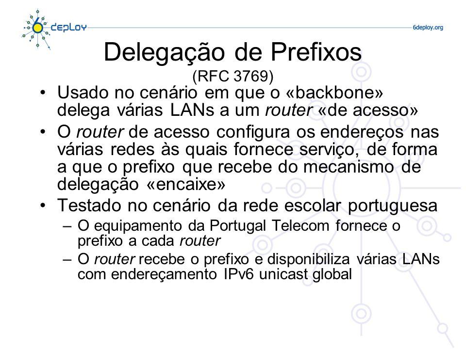 Delegação de Prefixos (RFC 3769) Usado no cenário em que o «backbone» delega várias LANs a um router «de acesso» O router de acesso configura os ender