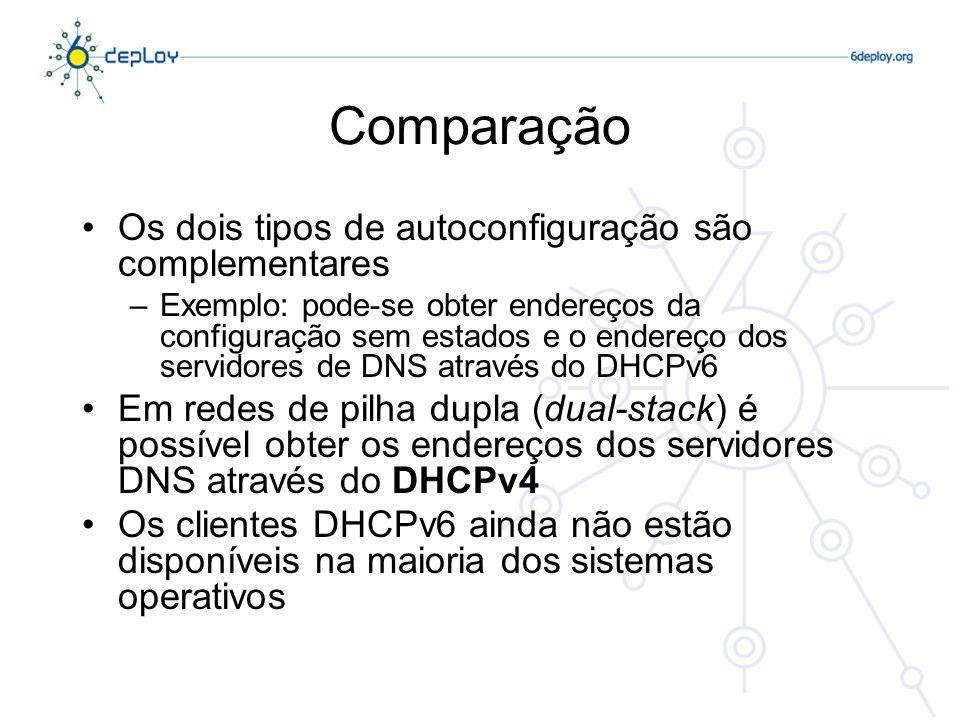 Comparação Os dois tipos de autoconfiguração são complementares –Exemplo: pode-se obter endereços da configuração sem estados e o endereço dos servido