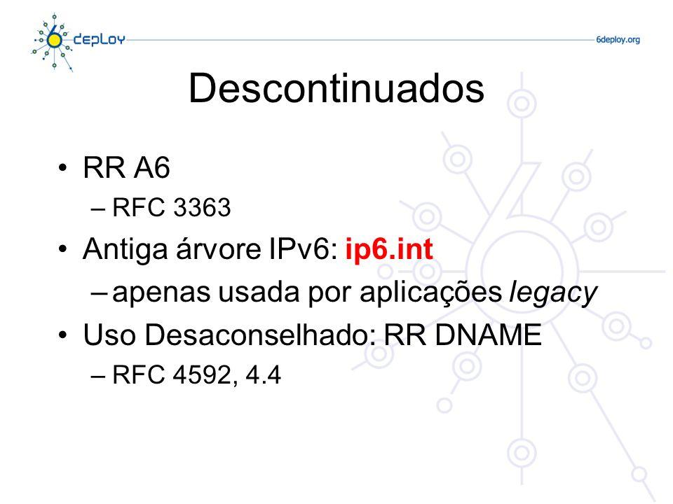 Descontinuados RR A6 –RFC 3363 Antiga árvore IPv6: ip6.int –apenas usada por aplicações legacy Uso Desaconselhado: RR DNAME –RFC 4592, 4.4