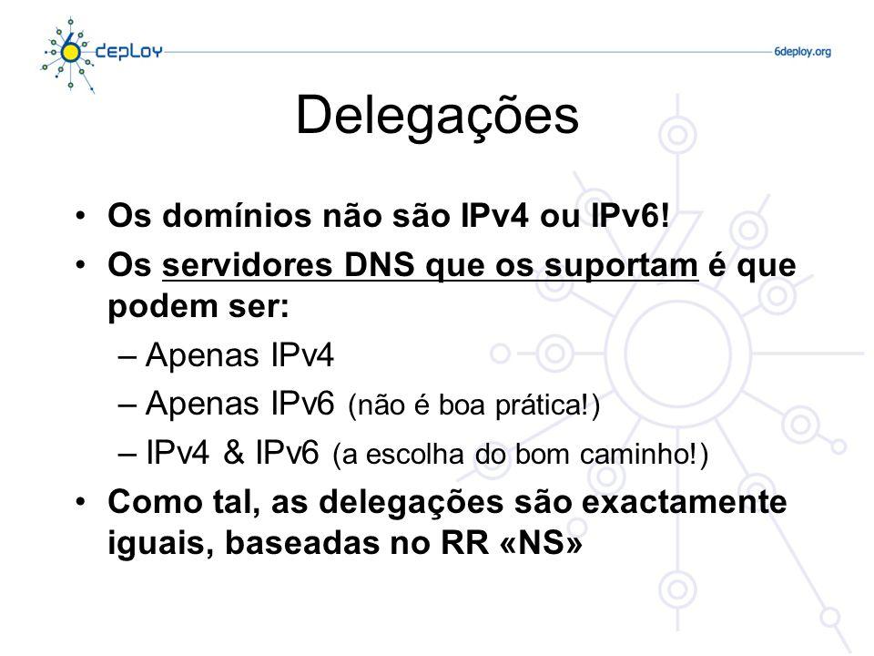 Delegações Os domínios não são IPv4 ou IPv6! Os servidores DNS que os suportam é que podem ser: –Apenas IPv4 –Apenas IPv6 (não é boa prática!) –IPv4 &