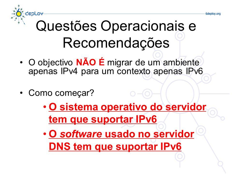 Questões Operacionais e Recomendações O objectivo NÃO É migrar de um ambiente apenas IPv4 para um contexto apenas IPv6 Como começar? O sistema operati
