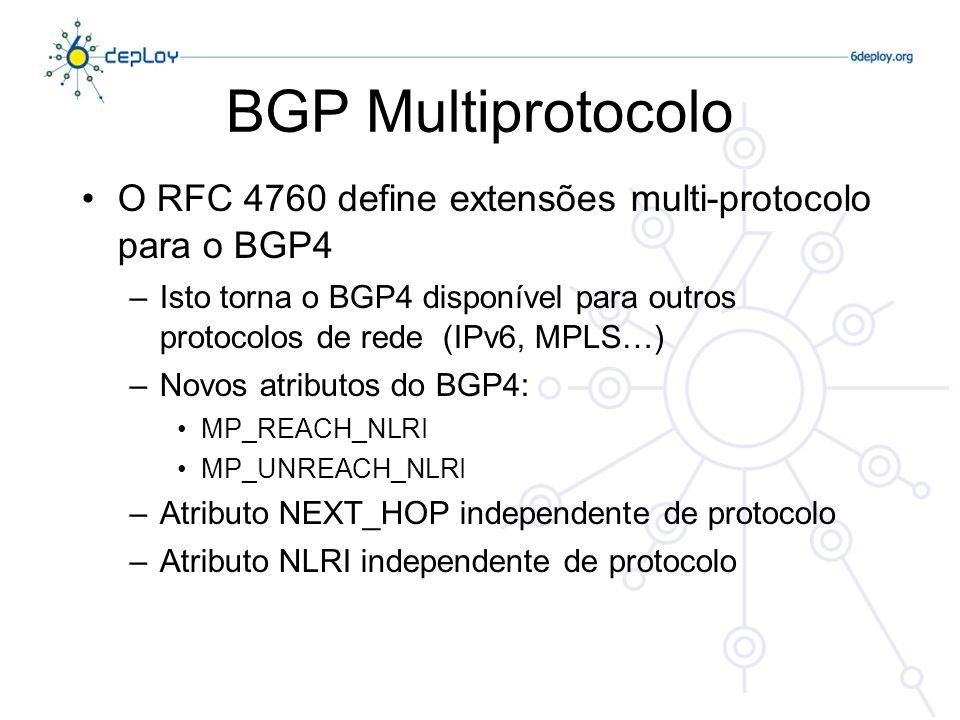 BGP Multiprotocolo O RFC 4760 define extensões multi-protocolo para o BGP4 –Isto torna o BGP4 disponível para outros protocolos de rede (IPv6, MPLS…)