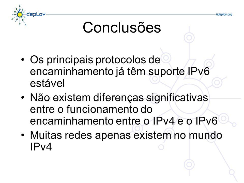 Conclusões Os principais protocolos de encaminhamento já têm suporte IPv6 estável Não existem diferenças significativas entre o funcionamento do encam