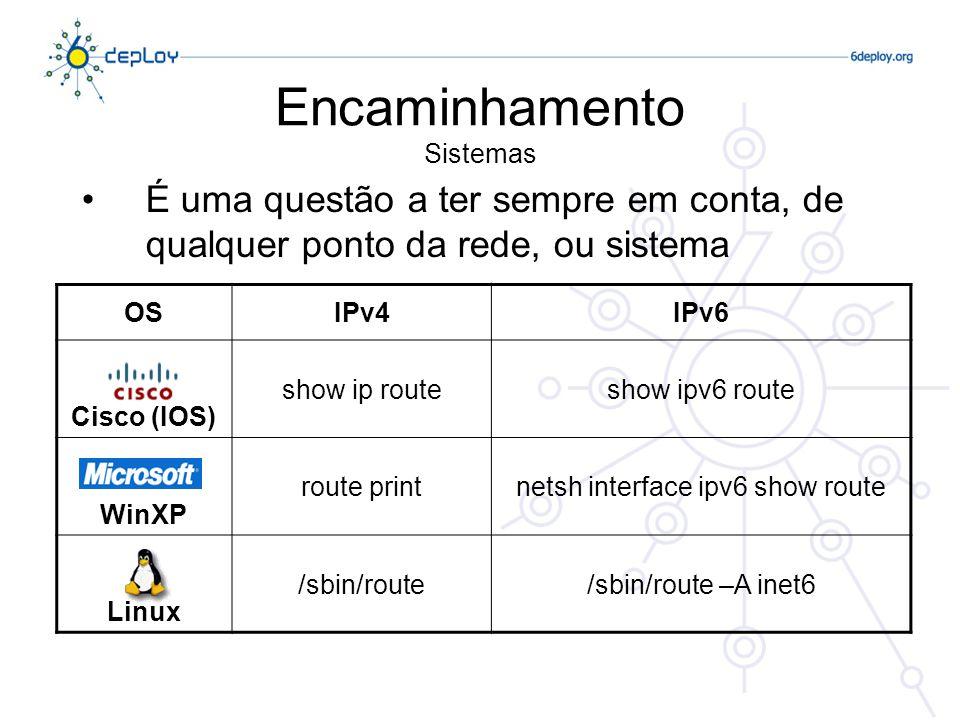 Encaminhamento Sistemas É uma questão a ter sempre em conta, de qualquer ponto da rede, ou sistema OSIPv4IPv6 Cisco (IOS) show ip routeshow ipv6 route