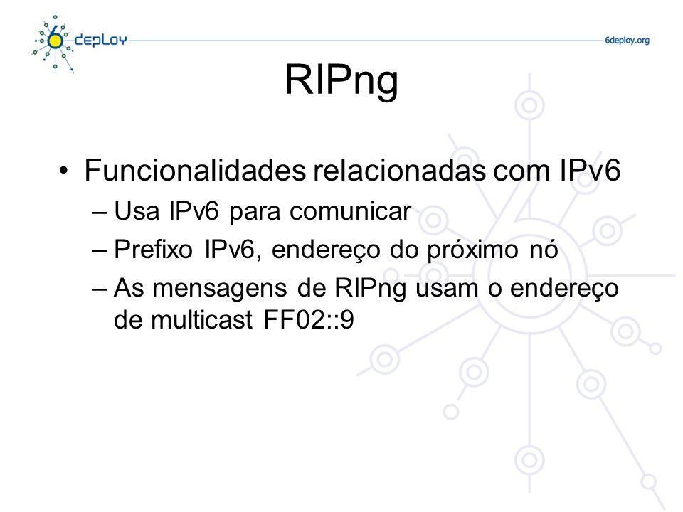 RIPng Funcionalidades relacionadas com IPv6 –Usa IPv6 para comunicar –Prefixo IPv6, endereço do próximo nó –As mensagens de RIPng usam o endereço de m