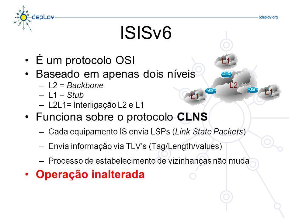 ISISv6 É um protocolo OSI Baseado em apenas dois níveis –L2 = Backbone –L1 = Stub –L2L1= Interligação L2 e L1 Funciona sobre o protocolo CLNS –Cada eq