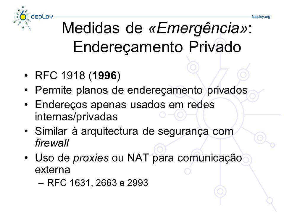 Medidas de «Emergência»: Endereçamento Privado RFC 1918 (1996) Permite planos de endereçamento privados Endereços apenas usados em redes internas/privadas Similar à arquitectura de segurança com firewall Uso de proxies ou NAT para comunicação externa –RFC 1631, 2663 e 2993