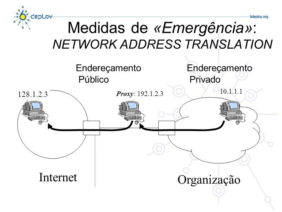 Medidas de «Emergência»: NETWORK ADDRESS TRANSLATION Endereçamento Público Endereçamento Privado Internet Organização 10.1.1.1 Proxy: 192.1.2.3 128.1.