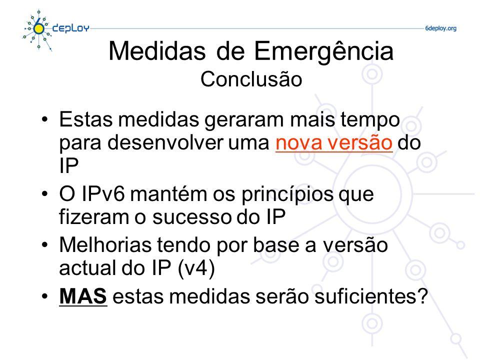 Medidas de Emergência Conclusão Estas medidas geraram mais tempo para desenvolver uma nova versão do IP O IPv6 mantém os princípios que fizeram o sucesso do IP Melhorias tendo por base a versão actual do IP (v4) MAS estas medidas serão suficientes