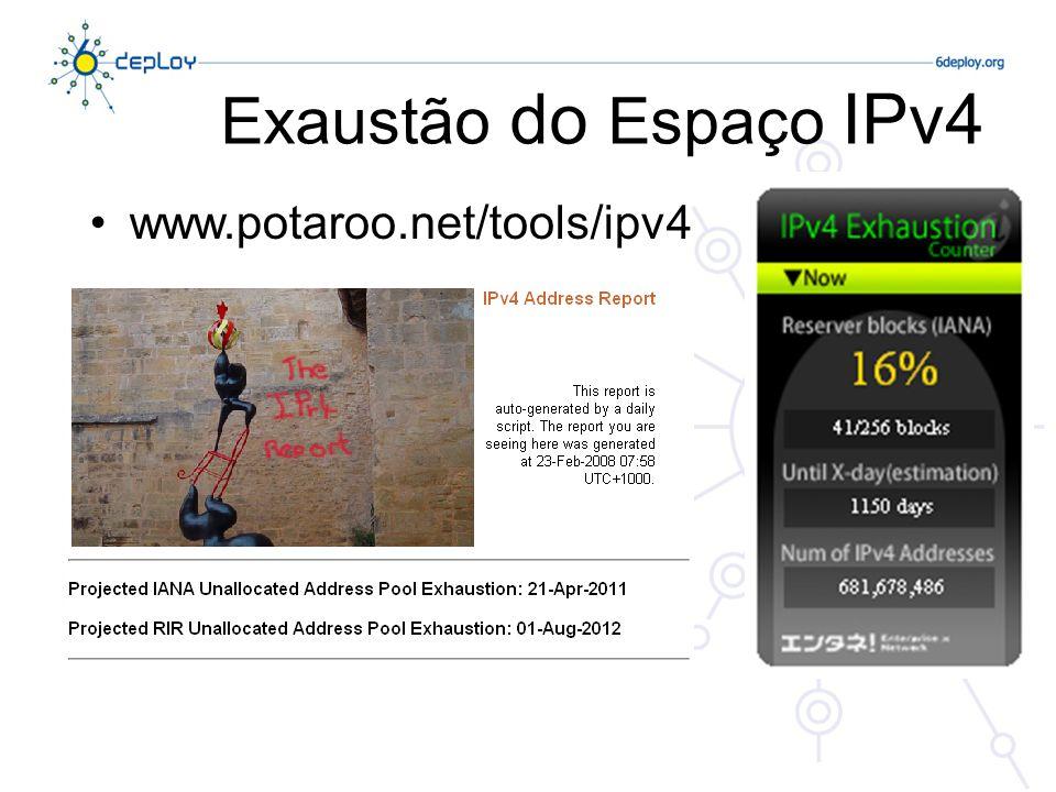 Medidas de Emergência Conclusão Estas medidas geraram mais tempo para desenvolver uma nova versão do IP O IPv6 mantém os princípios que fizeram o sucesso do IP Melhorias tendo por base a versão actual do IP (v4) MAS estas medidas serão suficientes?