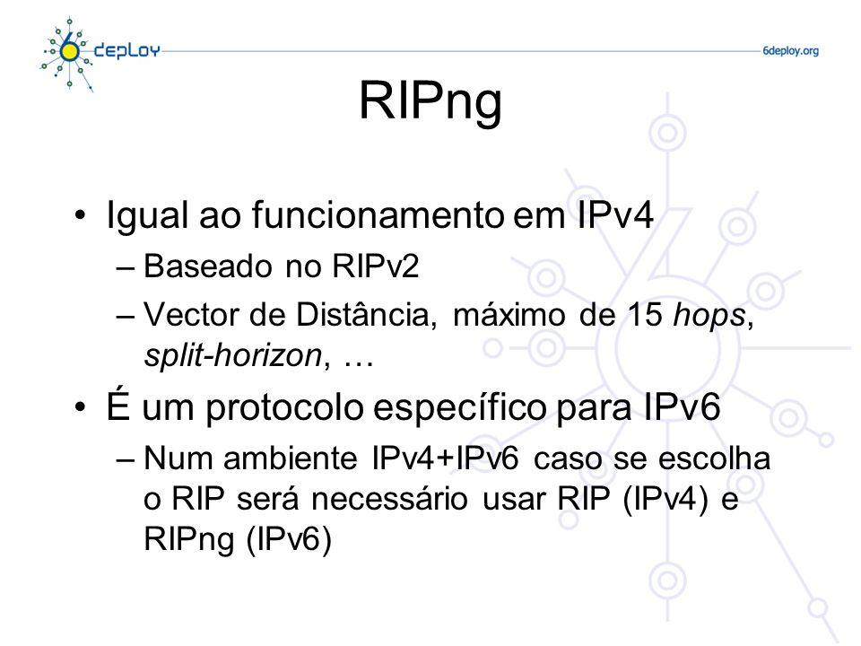 RIPng Funcionalidades relacionadas com IPv6 –Usa IPv6 para comunicar –Prefixo IPv6, endereço do próximo nó –As mensagens de RIPng usam o endereço de multicast FF02::9