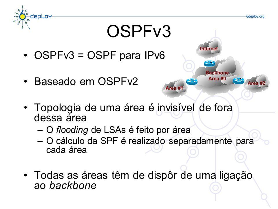 OSPFv3 OSPFv3 é uma versão do protocolo exclusivamente IPv6 –Numa rede de pilha dupla é necessário correr OSPF2 (IPv4) e OSPFv3 (IPv6) –Há algum trabalho a ser desenvolvido no sentido de dotar o OSPFv3 de suporte IPv4.