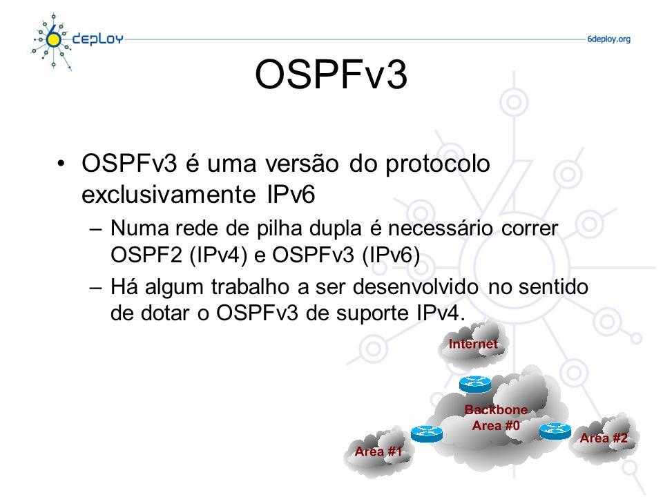 OSPFv3 Detalhes –Corre directamente sobre IPv6 –Distribui prefixos IPv6 –Novos tipos de LSAs –Os router-ids são endereços IPv4 –Usa endereços Multicast Todos os routers (FF02::5) Todos os designated routers (FF02::6)