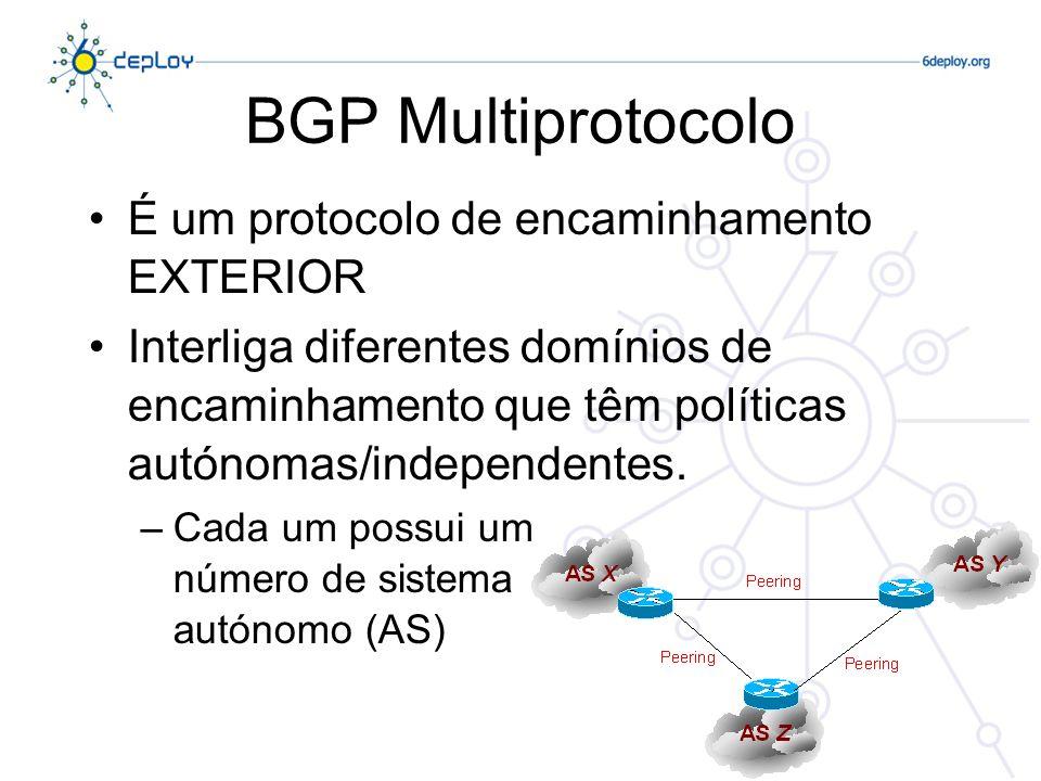 BGP Multiprotocolo Transporta sequências de números de AS que ilustram caminhos Suporta as mesmas funcionalidades que o BGP para IPv4 Várias famílias de endereçamento: –IPv4 unicast –IPv4 multicast –IPv6 unicast –IPv6 multicast