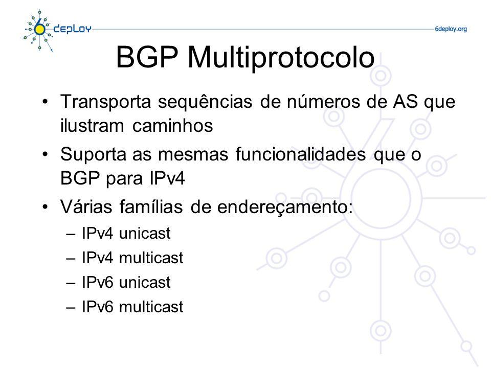 BGP Multiprotocolo O BGP4 transporta apenas três tipos de informação que são verdadeiramente específicos do IPv4: –O NLRI na mensagem de UPDATE contém um prefixo IPv4 –O atributo NEXT_HOP na mensagem de UIPDATE contém um endereço IPv4 –O BGP ID no atributo AGGREGATOR
