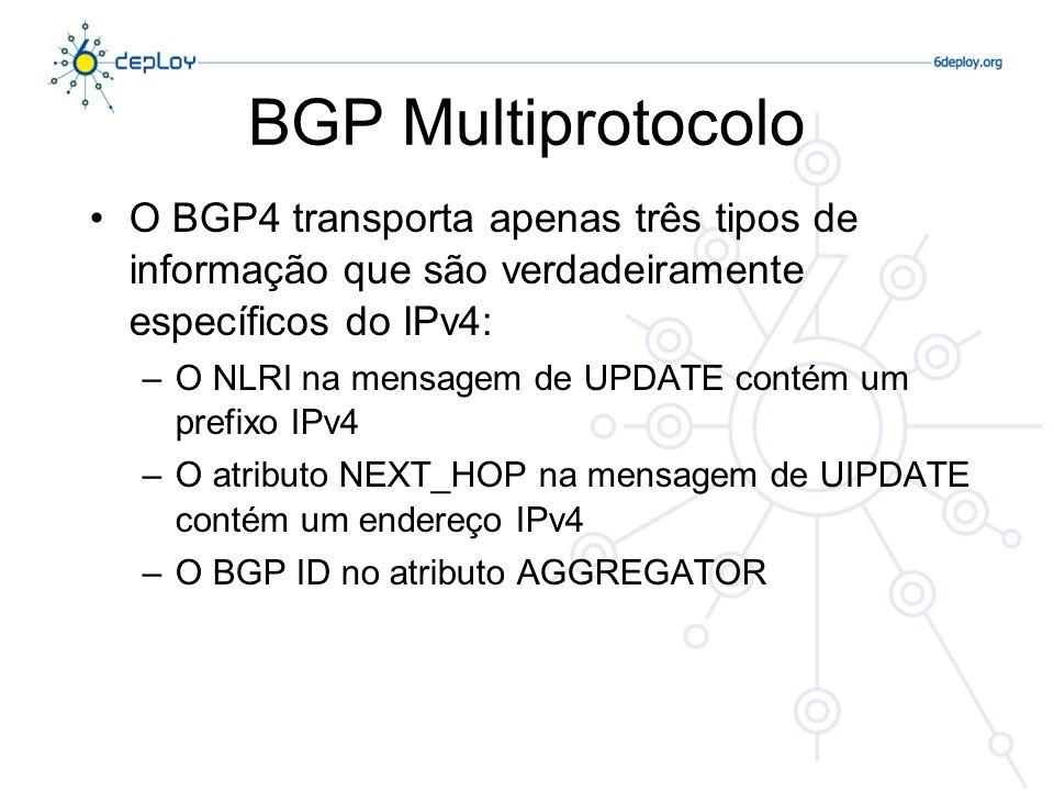 BGP Multiprotocolo O RFC 4760 define extensões multi-protocolo para o BGP4 –Isto torna o BGP4 disponível para outros protocolos de rede (IPv6, MPLS…) –Novos atributos do BGP4: MP_REACH_NLRI MP_UNREACH_NLRI –Atributo NEXT_HOP independente de protocolo –Atributo NLRI independente de protocolo