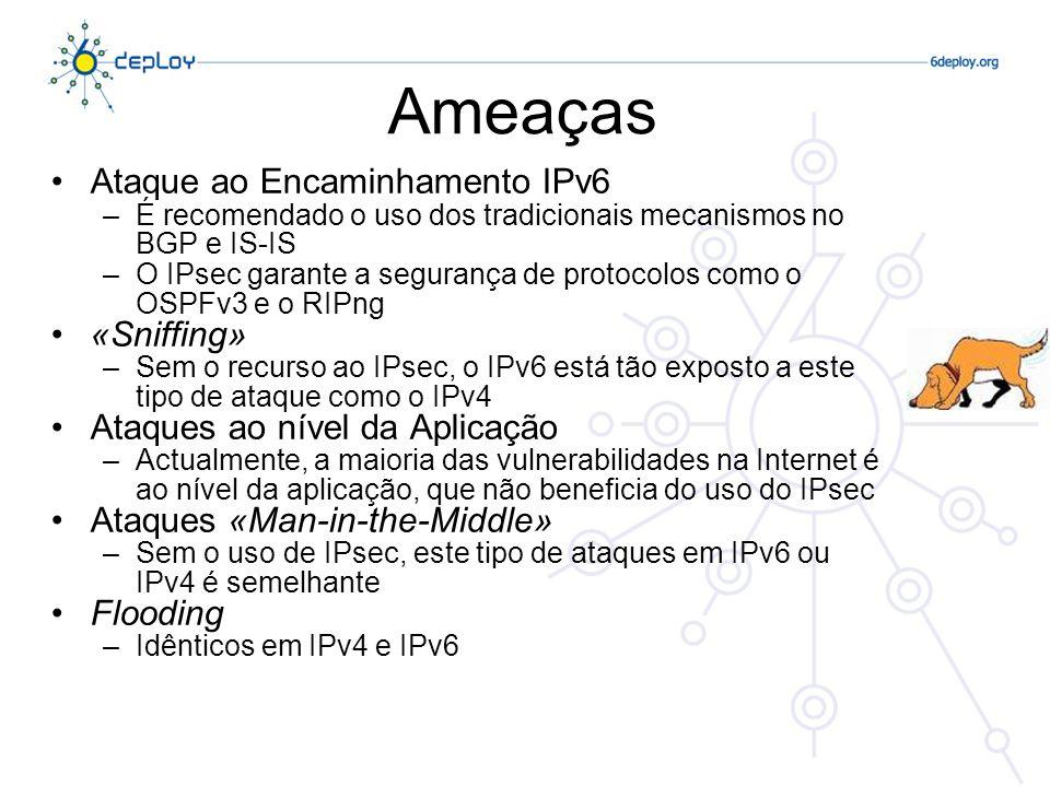 IPsec Mecanismos gerais de segurança IP Fornece… –Autenticação –Confidencialidade –Gestão de Chaves – necessita de uma infraestrura de chaves públicas (PKI) Aplicável ao uso em LANs, e WANs públicas & privadas, e na Internet O IPsec não é apenas um único protocolo.