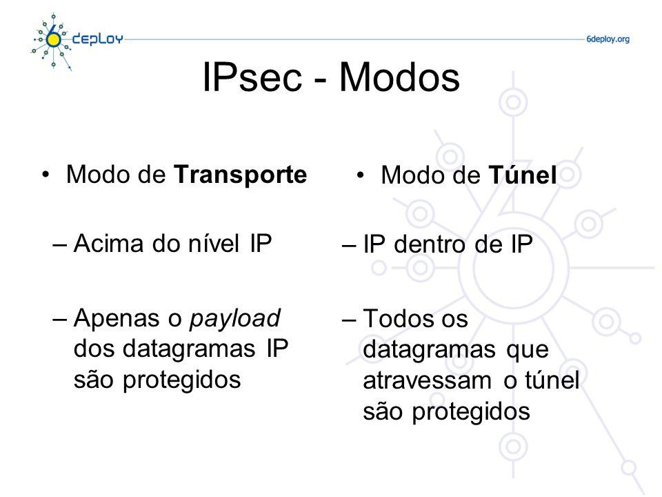 IPsec : Gestão de Chaves Manual –Chaves configuradas em cada sistema Automática: IKEv2 (Internet Key Exchange v2, RFC 4306) –Negociação da Associação de Segurança: ISAKMP Diferentes blocos (payloads) são ligados a seguir ao cabeçalho ISAKMP –Protocolos de Troca de Chaves: Oakley, Scheme Algoritmos: Autenticação e Encriptação