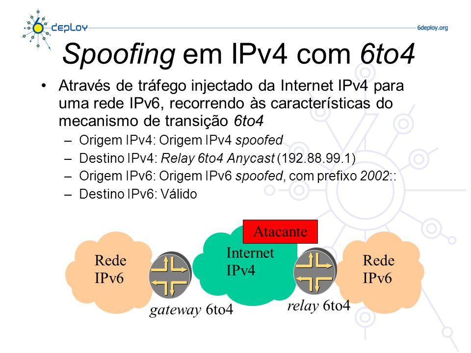 Protecção – Firewalls IPv6 IPv6 & Firewalls –Não elimina a segurança IPv4, se ela existir –O processo do firewall IPv6 é em geral separado do firewall IPv4, mas pode ser efectuado no mesmo equipamento É o caso da FCCN (Checkpoint & Cisco PIX -- no futuro) –Sem necessidade de gerir NATs Mesmo nível de segurança e privacidade Segurança fim-a-fim com recurso a IPsec –Suporte de transição e coexistência IPv4/IPv6