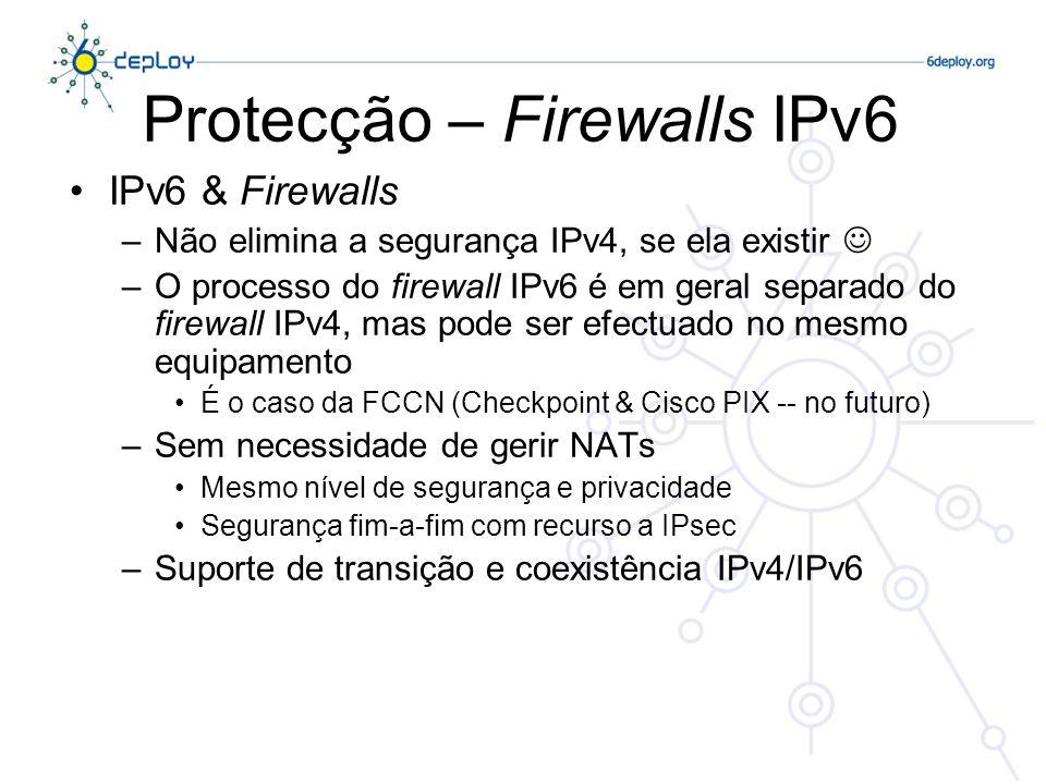 Internet Router Firewall Rede Protegida DMZ Firewall IPv6 – arquitectura #1 Internet router firewall Rede Requisitos: –Firewall tem que suportar filtragem de pacotes Neighbor Discovery –Firewall tem que suportar filtragem de pacotes de Anúncio de Router –Firewall tem que suportar o protocolo MLD, se o Multicast é usado