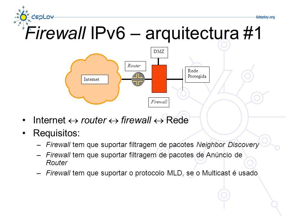 Firewall IPv6 – arquitectura #2 Internet firewall router Rede Requisitos: –Firewall tem que suportar filtragem de pacotes ND –Firewall tem que suportar filtragem de protocolos dinâmicos de encaminhamento (i.e.