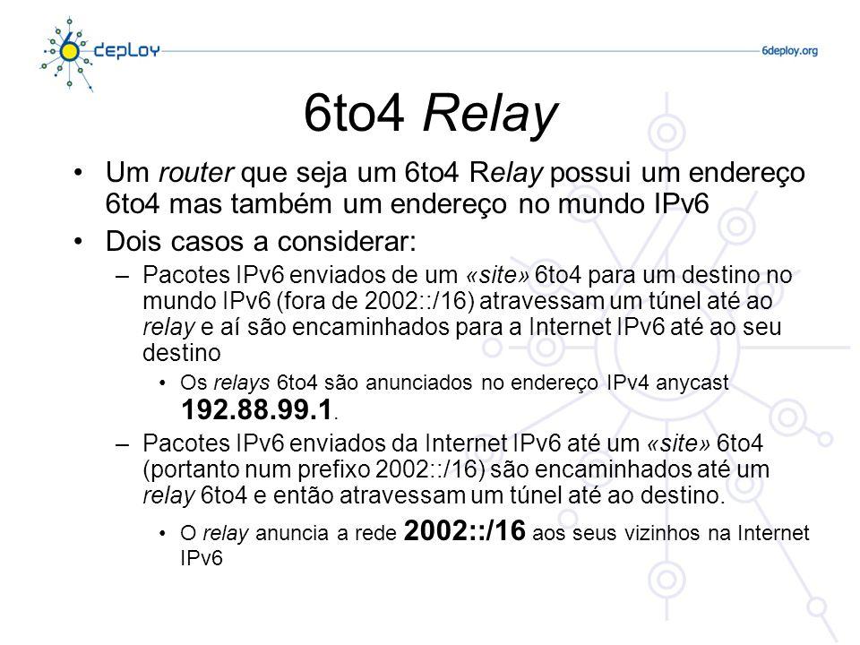 6to4 Relay @ FCCN - Rotas (IPv4) * 139.83.0.0/16 * 192.88.99.0/24 * 193.136.0.0/15 * 194.210.0.0/16 (...) (IPv6) * 2001:690::/32 (RCTS) * 2001:7f8:a::/48 (GIGAPIX) * 2002::/16 (6TO4) «Anúncios» do AS1930 –Border Gateway Protocol (BGP)