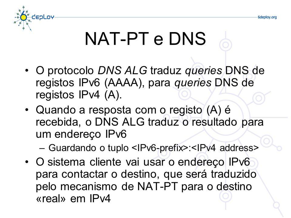 NAT-PT: Aspectos Negativos Todas as desvantagens do NAT em IPv4, e um pouco mais: –Necessita de manter os estados nos equipamentos que suportam o NAT-PT –Necessita de lidar com os endereços IP embebidos no payload do pacote (ex: FTP) –Os aspectos relacionados com o DNS são complexos A principal dificuldade é não ser escalável para ambientes de média/grande dimensão