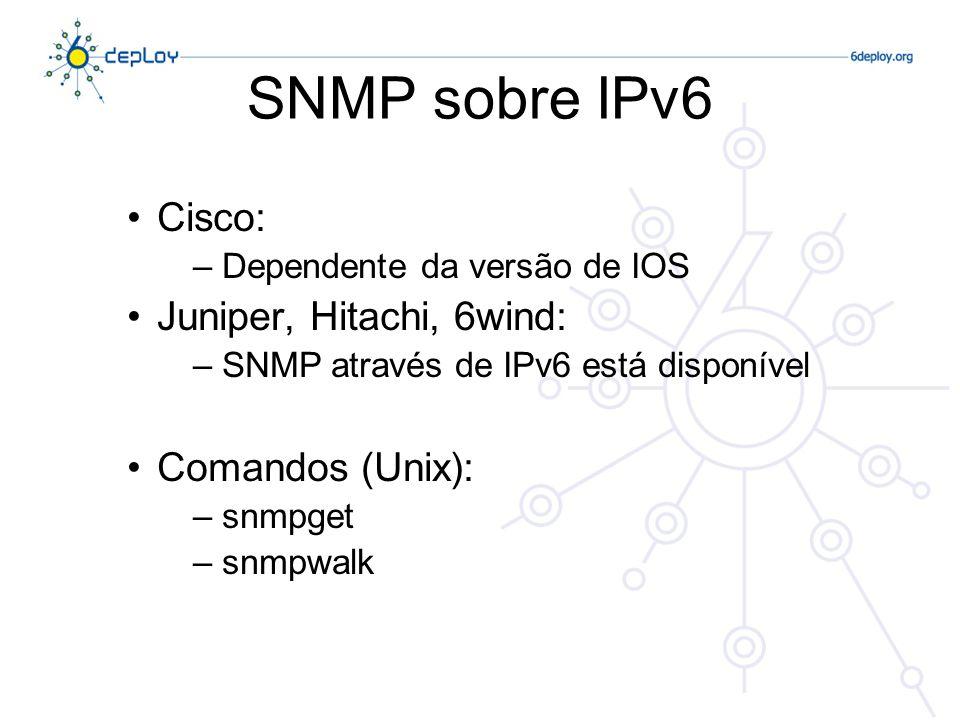 Estado das MIBs IPv6 As MIBs são essenciais na gestão de redes As aplicações baseadas em SNMP são frequentemente usadas, embora existam outros mecanismos (NetFlow, XML…) O SNMP depende das MIBs … => É necessário que existam MIBs para recolher informação sobre a rede IPv6, assim como é desejável que elas estejam disponíveis através de IPv6
