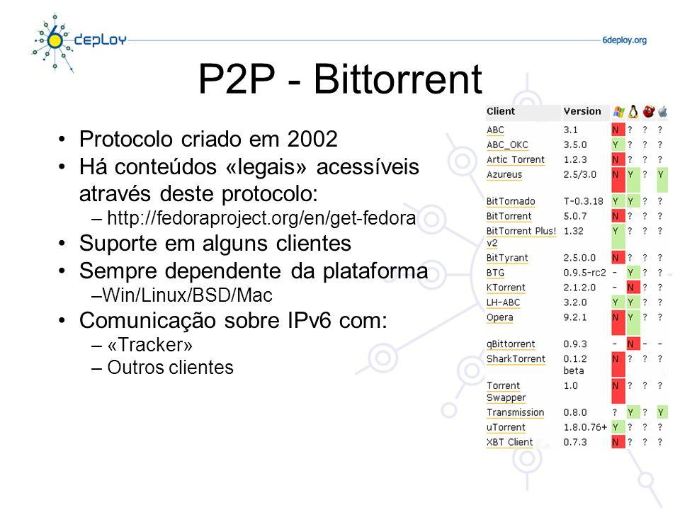 Protocolo criado em 2002 Há conteúdos «legais» acessíveis através deste protocolo: – http://fedoraproject.org/en/get-fedora Suporte em alguns clientes