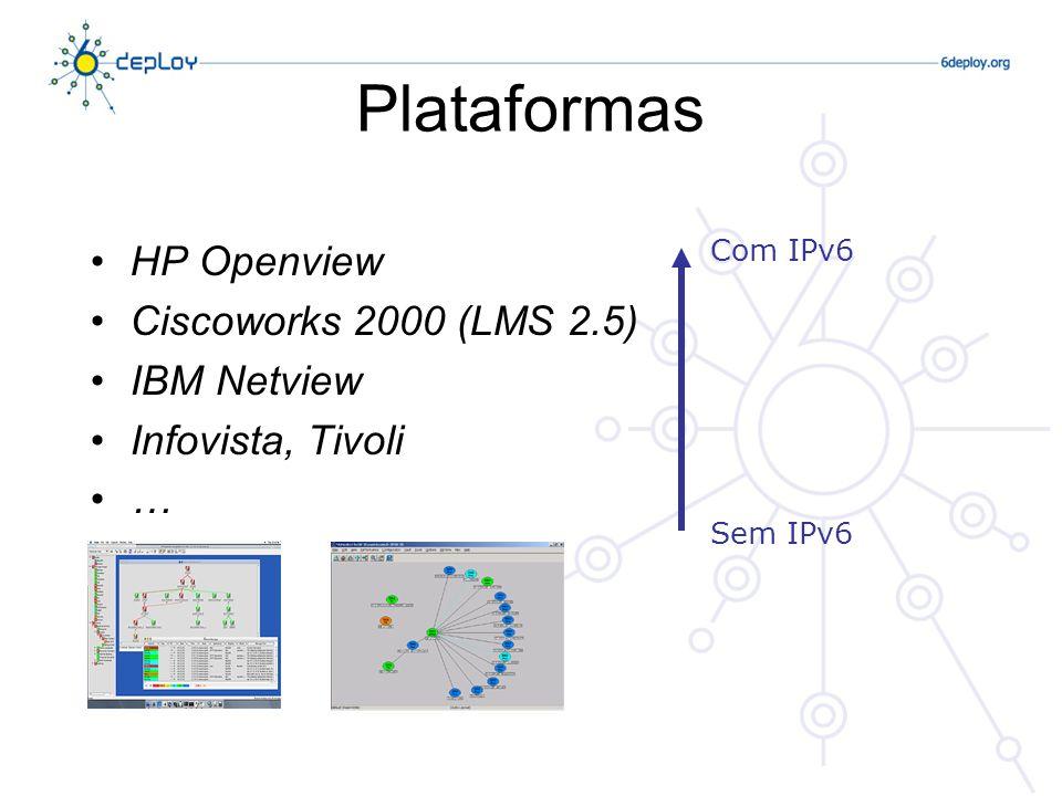 HP Openview Ciscoworks 2000 (LMS 2.5) IBM Netview Infovista, Tivoli … Com IPv6 Sem IPv6 Plataformas