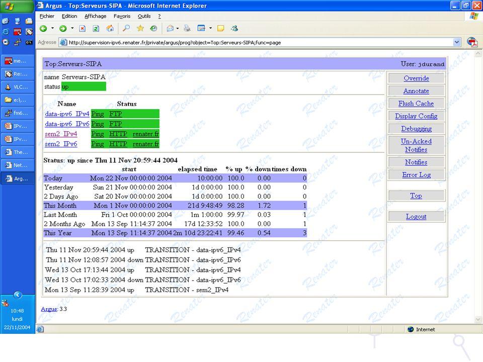 Nagios –http://www.nagios.org –Ferramenta muito completa Monitorização de Serviços Monitorização de Rede –Pode ser complexo demais para uma pequena rede –Evolução: Novas funcionalidades podem ser adicionadas através de plug-ins Monitorização de sessões BGP, …