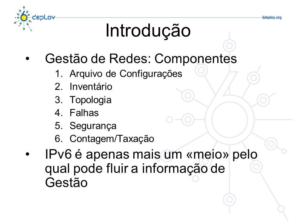 Introdução Gestão de Redes: Componentes 1.Arquivo de Configurações 2.Inventário 3.Topologia 4.Falhas 5.Segurança 6.Contagem/Taxação IPv6 é apenas mais um «meio» pelo qual pode fluir a informação de Gestão