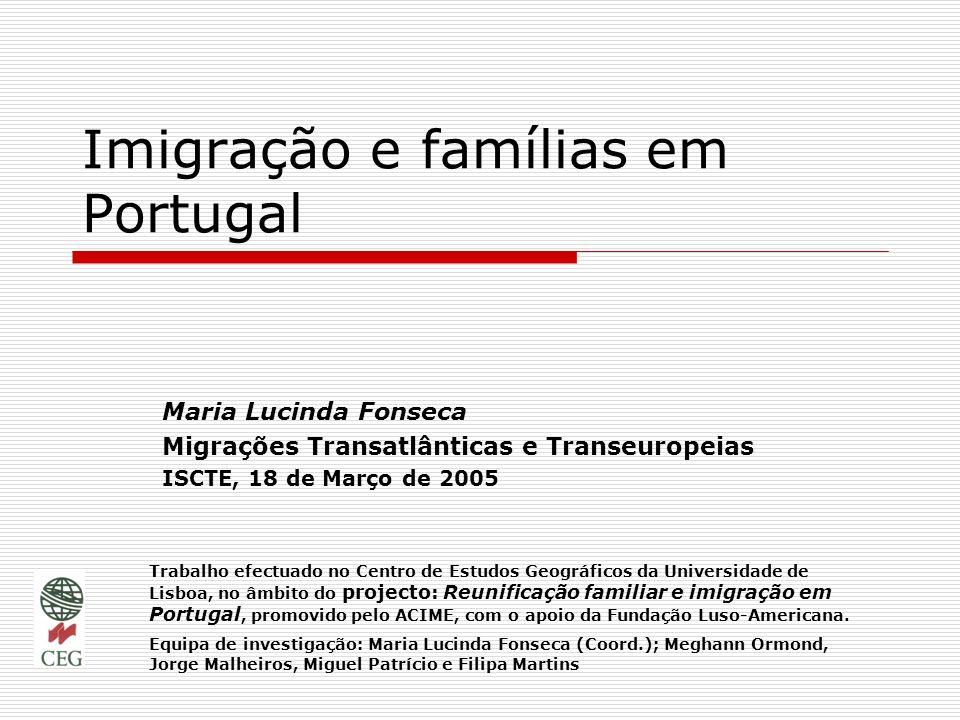 Imigração e famílias em Portugal Maria Lucinda Fonseca Migrações Transatlânticas e Transeuropeias ISCTE, 18 de Março de 2005 Trabalho efectuado no Cen