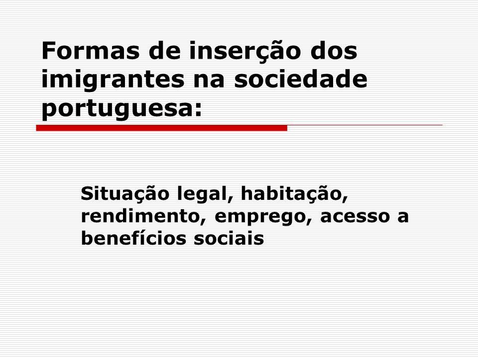 Situação legal, habitação, rendimento, emprego, acesso a benefícios sociais Formas de inserção dos imigrantes na sociedade portuguesa: