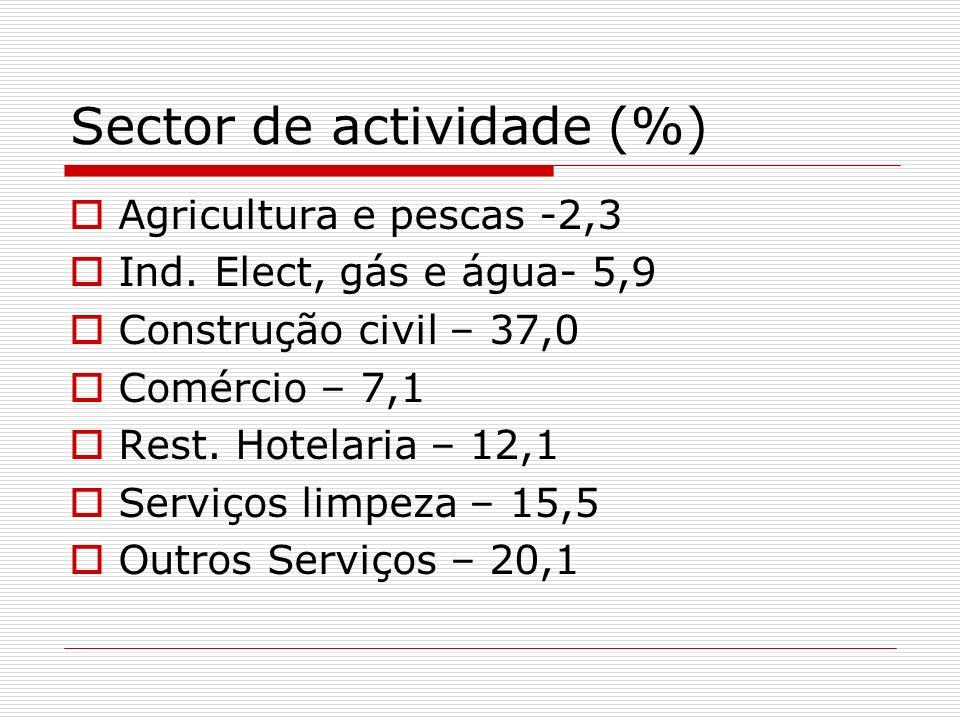 Sector de actividade (%) Agricultura e pescas -2,3 Ind. Elect, gás e água- 5,9 Construção civil – 37,0 Comércio – 7,1 Rest. Hotelaria – 12,1 Serviços