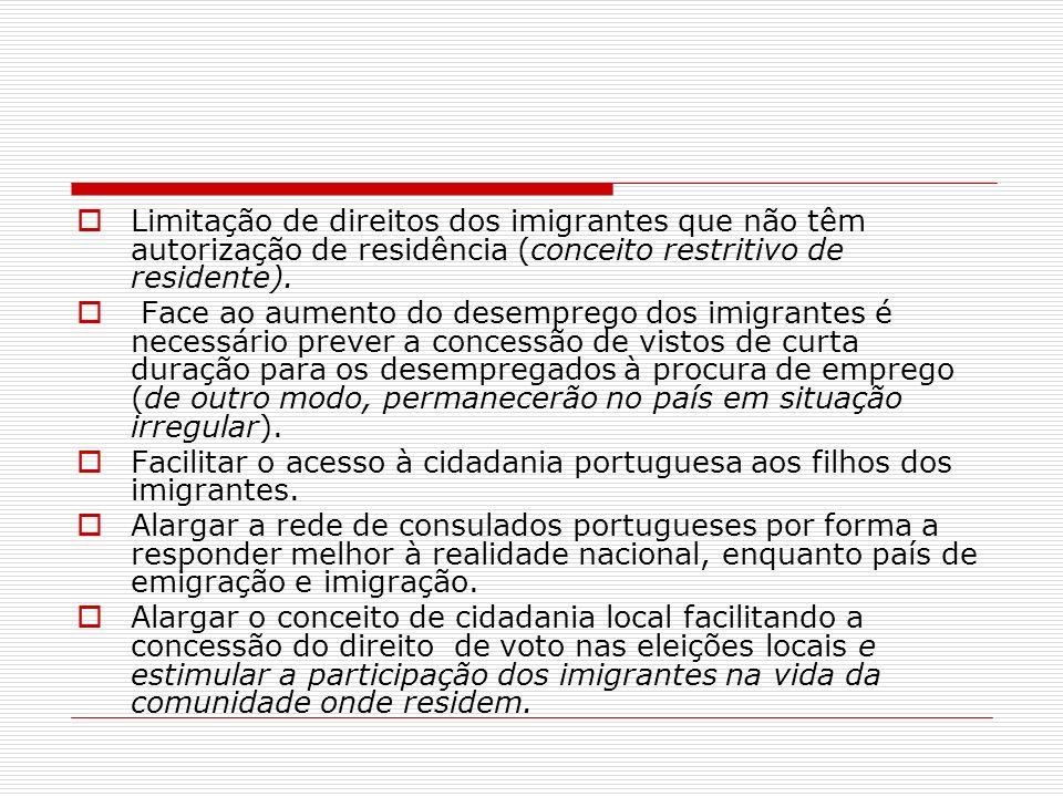 Limitação de direitos dos imigrantes que não têm autorização de residência (conceito restritivo de residente). Face ao aumento do desemprego dos imigr