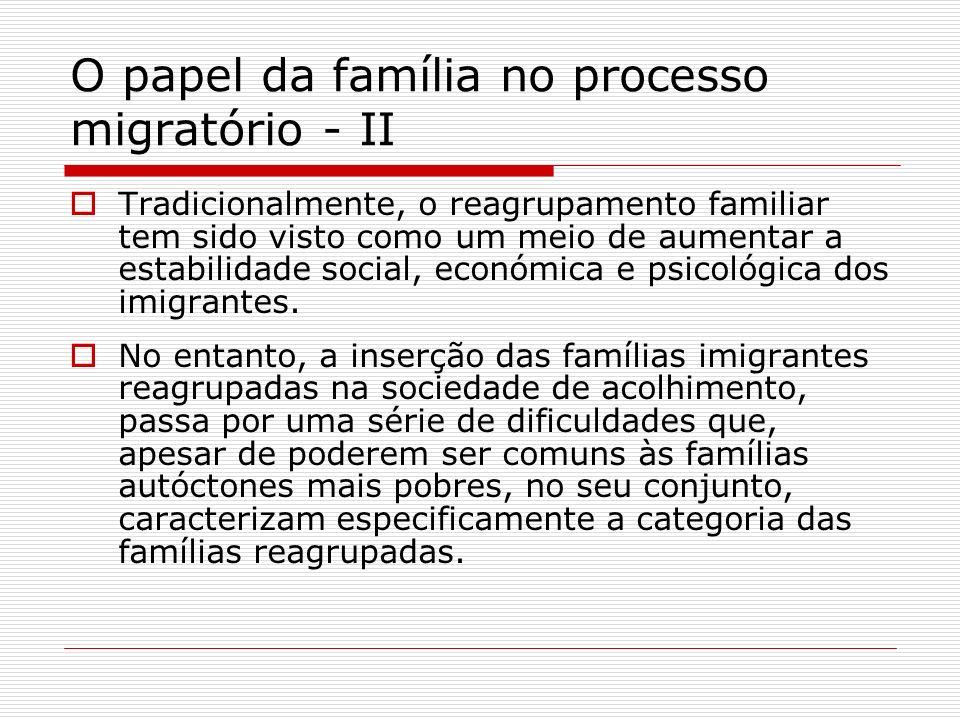 O papel da família no processo migratório - II Tradicionalmente, o reagrupamento familiar tem sido visto como um meio de aumentar a estabilidade socia