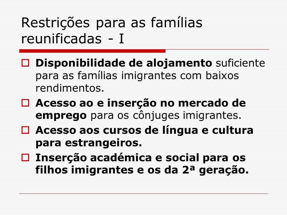 Restrições para as famílias reunificadas - I Disponibilidade de alojamento suficiente para as famílias imigrantes com baixos rendimentos. Acesso ao e