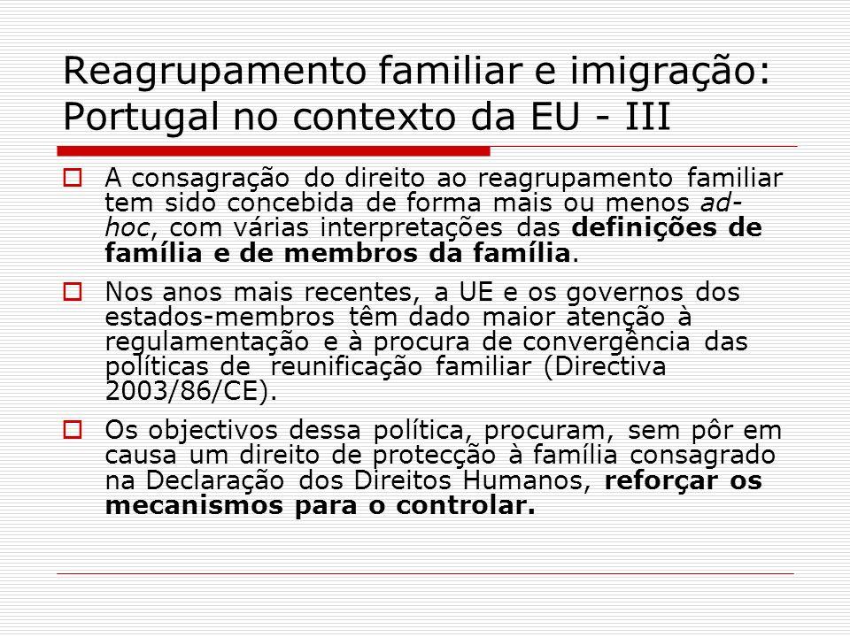 Reagrupamento familiar e imigração: Portugal no contexto da EU - III A consagração do direito ao reagrupamento familiar tem sido concebida de forma ma